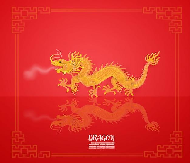 Resumo com dragão dourado no vermelho