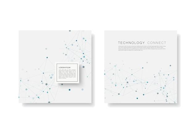 Resumo conectar fundo com linhas conectadas e pontos. brochura de modelos modernos
