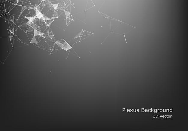 Resumo conexão à internet e tecnologia design gráfico. estrutura de conexão digital geométrica do computador. grade abstrata preta futurista. plexo com partículas.