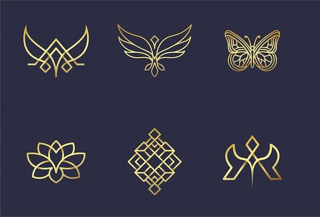 Resumo conjunto 6 logotipo design ouro