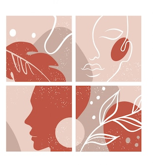 Resumo conjunto com rosto de mulher, silhueta, elementos florais, um desenho de linha.