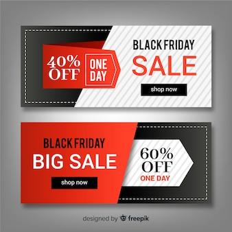 Resumo conjunto de banner preto venda sexta-feira