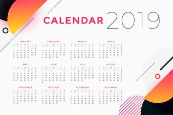 Resumo criativo 2019 design de calendário