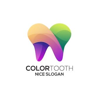 Resumo da ilustração do logotipo colorido do dente