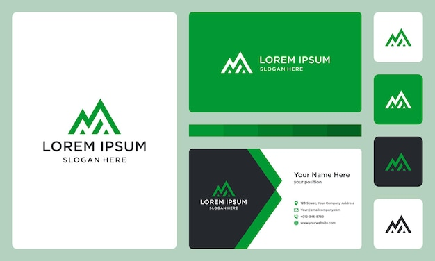 Resumo da letra n, logotipo da montanha e investimento. cartão de visitas.