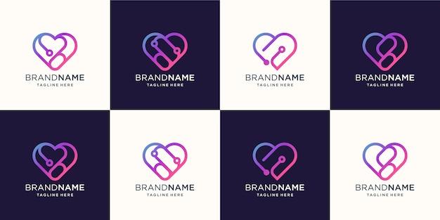 Resumo da linha de coração do logotipo com design de conceito de tecnologia