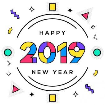 Resumo de ano novo colorido com estilo geométrico