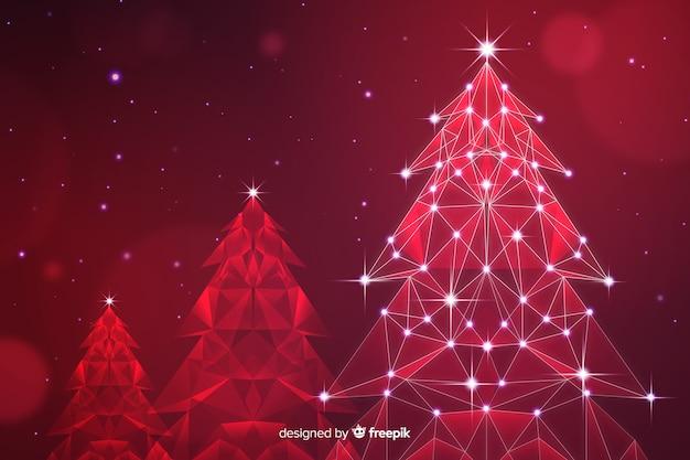 Resumo de árvore de natal com luzes em tons de vermelho