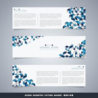 Resumo de banner padrão geométrico azul.