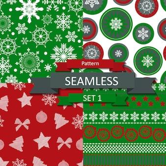 Resumo de beleza natal e ano novo seamlss padrão definido, ilustração vetorial. eps10