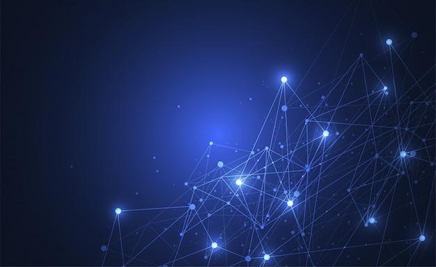 Resumo de conexão de pontos e linhas com fundo geométrico