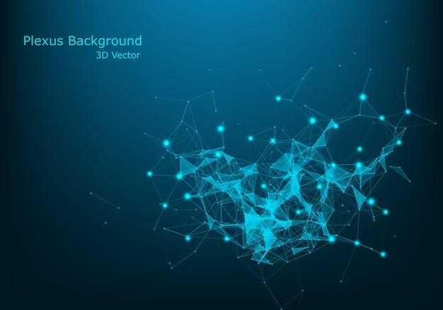 Resumo de conexão de pontos e linhas. fundo de ciência de conexão.