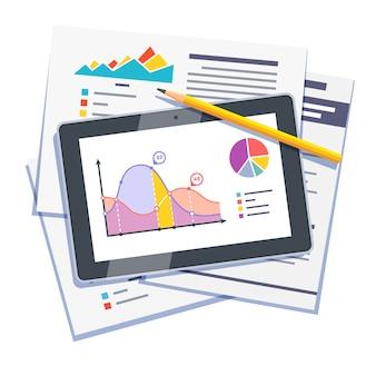Resumo de dados estatísticos em papel e tablet