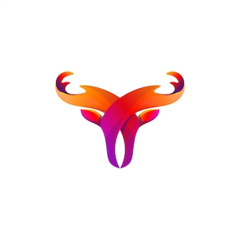 Resumo de design de logotipo de touro