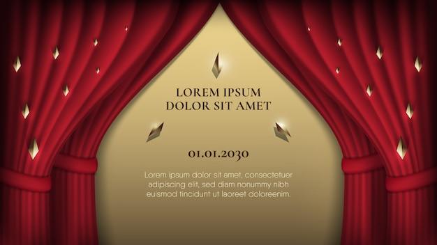 Resumo de duas camadas de cortinas vermelhas sobre fundo dourado para anúncio