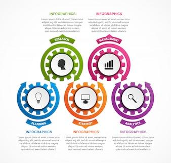 Resumo de engrenagens infográfico. Elemento de design.
