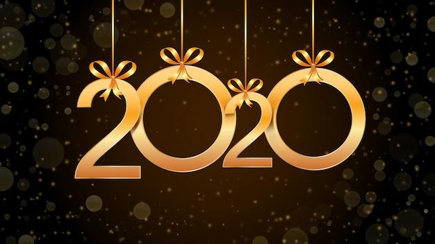 Resumo de feliz ano novo de 2020 com a suspensão de números dourados, glitter e efeito bokeh.