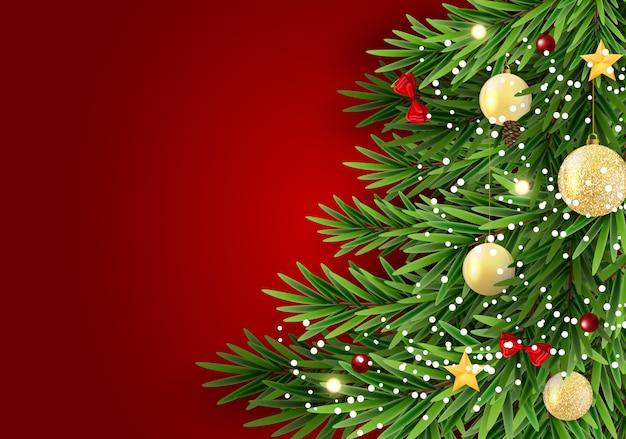 Resumo de férias ano novo e feliz natal com árvore de natal realista.