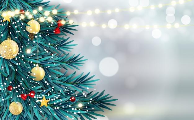 Resumo de férias ano novo e feliz natal fundo com árvore de natal realista