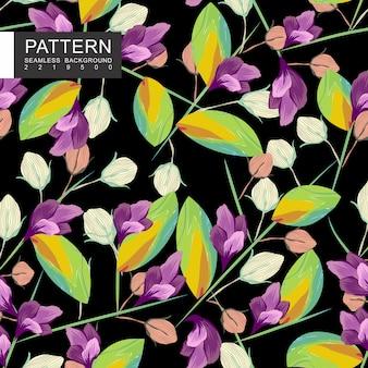 Resumo de folhas e flores com padrão floral sem costura de ramos