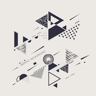 Resumo de fundo azul padrão geométrico moderno de memphis