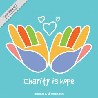 Resumo de fundo de caridade mãos coloridas