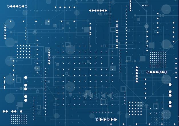 Resumo de fundo de tecnologia. conexões brilhantes azuis