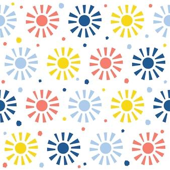 Resumo de fundo sem emenda do sol. capa de sol de aplicação simples infantil para cartão de design, papel de parede, álbum, álbum de recortes, papel de embrulho de férias, tecido têxtil, impressão de bolsa, camiseta etc.