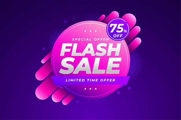 Resumo de gradiente líquido dinâmico de banner de venda em flash