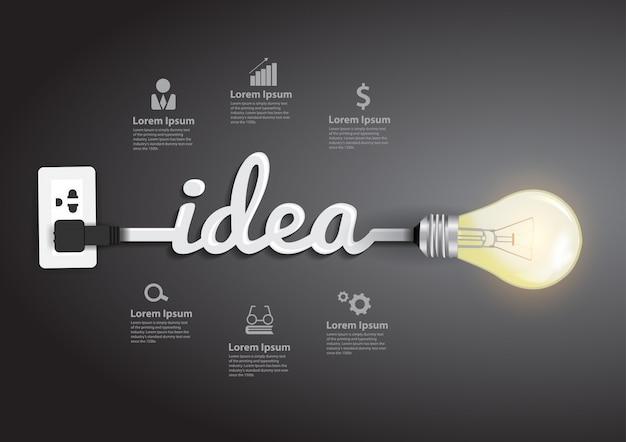 Resumo de idéia criativa de lâmpada de vetor