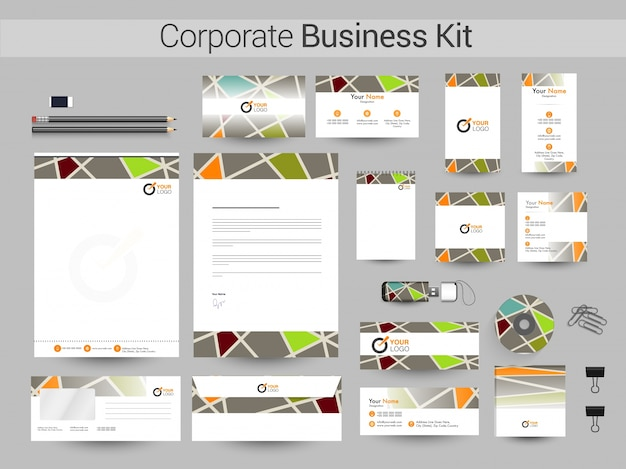 Resumo de identidade corporativa ou business kit.