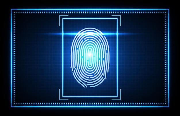 Resumo de impressão digital de tecnologia futurista, acesso de identificação biométrica de digitalização de dedo