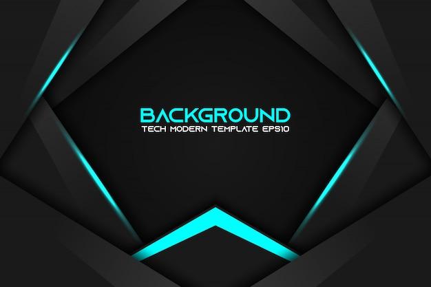 Resumo de layout de quadro preto azul metálico moderna tecnologia