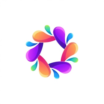 Resumo de logotipo de água de cor moderna