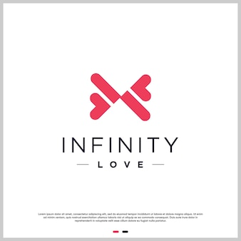 Resumo de logotipo de amor com conceito de infinito premium vector