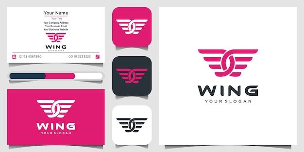 Resumo de logotipo de asas, flying airlines e cartão de visita