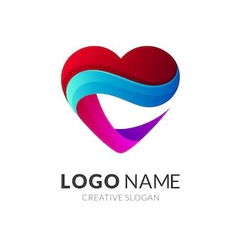Resumo de logotipo de coração moderno