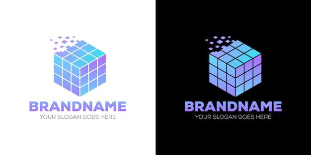 Resumo de logotipo de dados de cubo