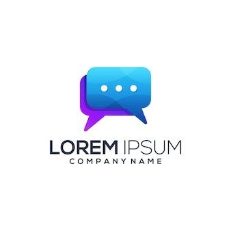 Resumo de logotipo gradiente de bate-papo