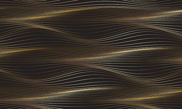 Resumo de luxo ouro linha fina curva de onda em ilustração vetorial de papel de parede de fundo cinza