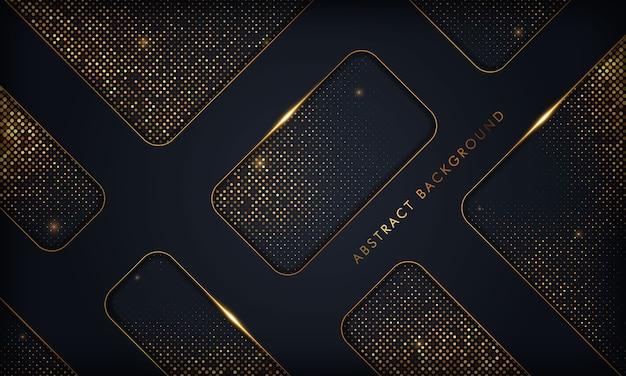Resumo de luxo preto sobreposição de fundo com a linha de ouro. textura com elemento de brilhos dourados.