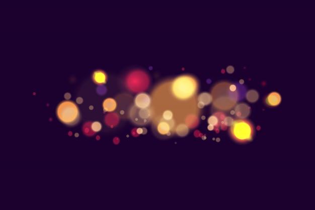 Resumo de luz de vetor. festivo fundo roxo e dourado luminoso com luzes coloridas bokeh