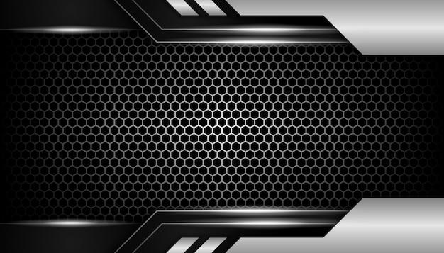 Resumo de luz prata sobre fundo escuro luxo hexágono