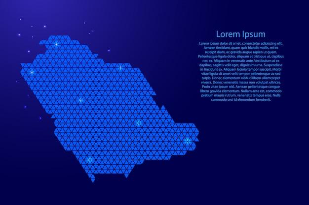 Resumo de mapa da arábia saudita esquemático com modelo de triângulos azuis