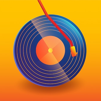 Resumo de música disco de vinil com fundo gradiente
