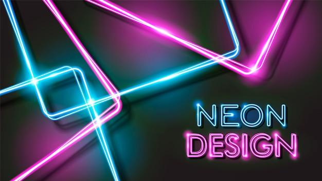 Resumo de néon brilhante fundo preto design