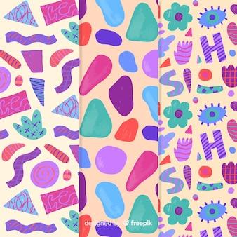 Resumo de padrão colorido mão desenhada
