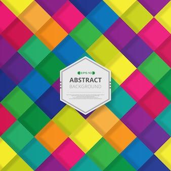 Resumo de padrão quadrado colorido com fundo de sombra.
