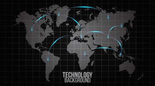Resumo de rede global do conceito de conexão do mundo. rede social de visualização de dados grandes