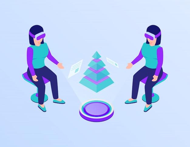 Resumo de relatório de gráfico e gráfico de dados apresentado no conceito de óculos de realidade virtual vr com isométrica